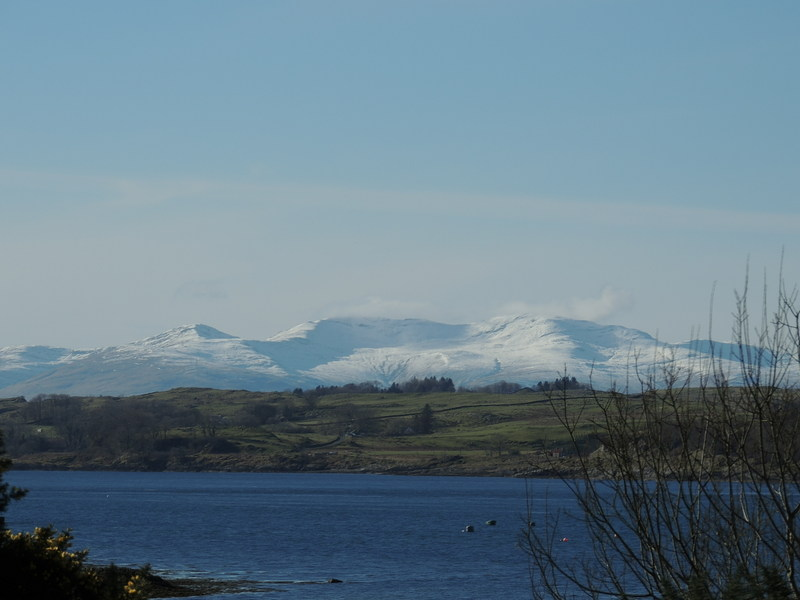 View from cottages across to the snow covered mountains on Isle of Mull.